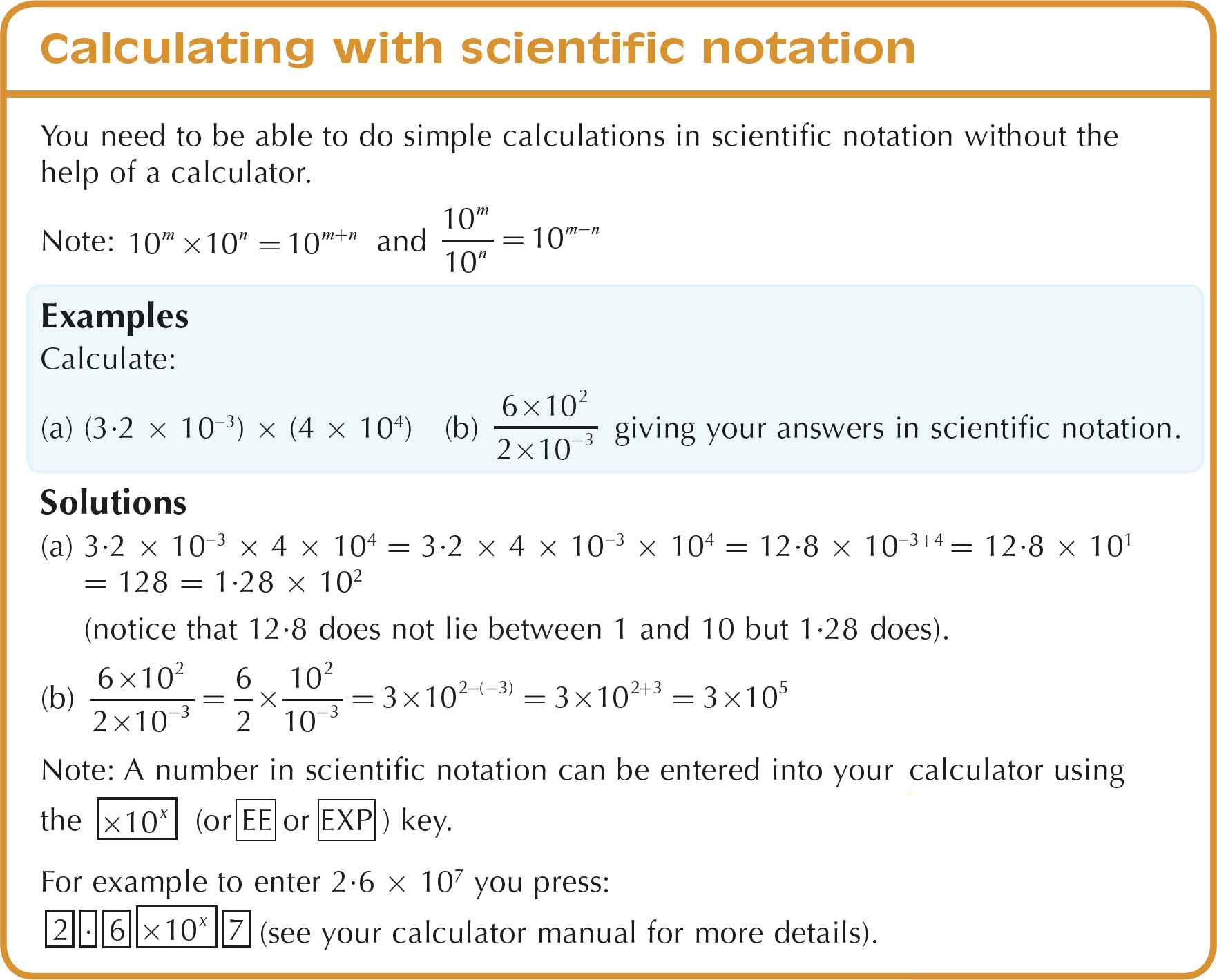 Working with indices including scientific notation calculating with scientific notation notes falaconquin